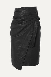 이자벨 마랑 에뚜왈 AYENI 가죽 랩 스커트 Isabel Marant Etoile Ayeni gathered leather wrap skirt