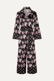 Temperley London Dragonfly cropped printed satin jumpsuit