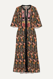 Temperley London Rosy embroidered floral-print crepe de chine midi dress