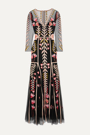 Temperley London Rosy embroidered tulle maxi dress