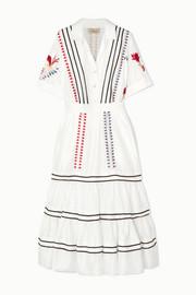 Temperley London Cherry Blossom ruffled embroidered cotton midi dress