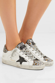 Superstar distressed glittered leopard-print leather sneakers