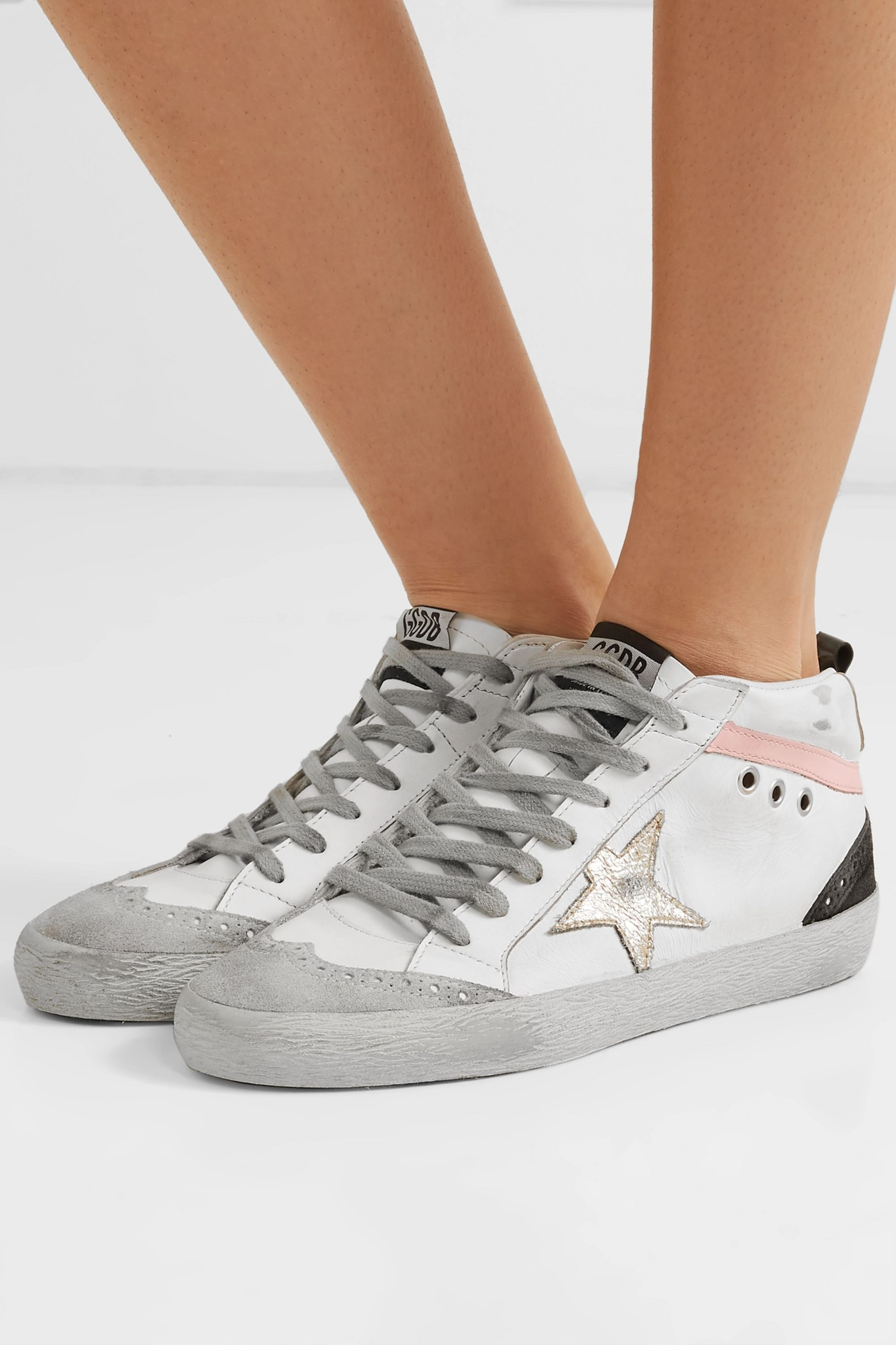 White Mid Star distressed leather and