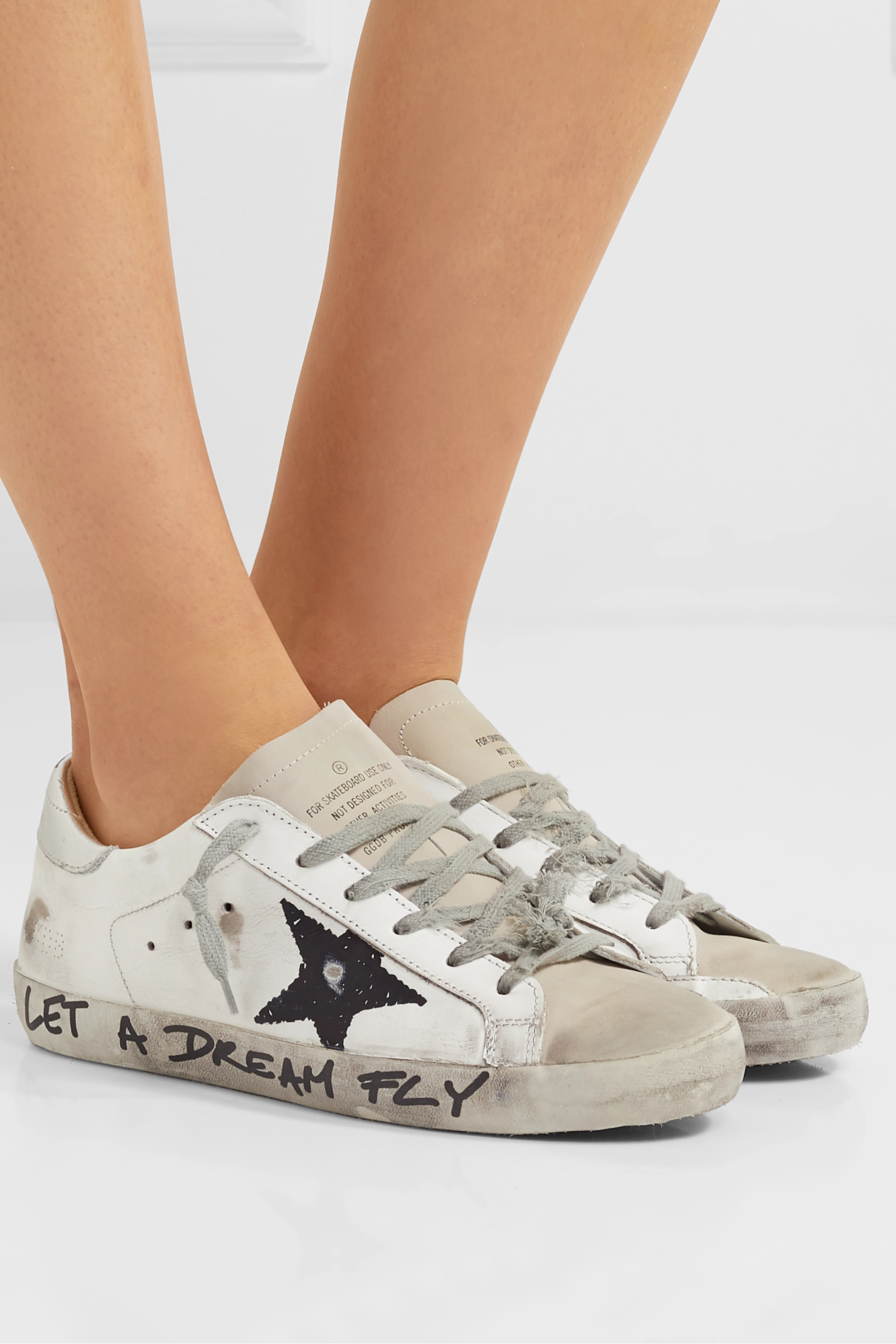 Golden Goose Superstar distressed printed leather sneakers