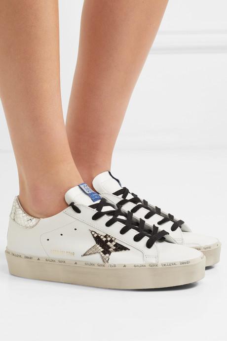 Hi Star distressed leather platform sneakers