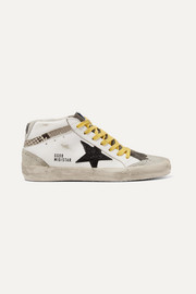 Mid Star distressed glittered and snake-effect leather and suede sneakers