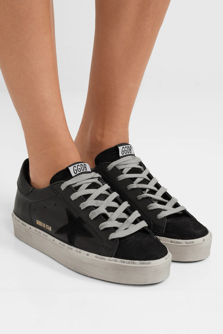 Hi Star suede-trimmed distressed leather sneakers