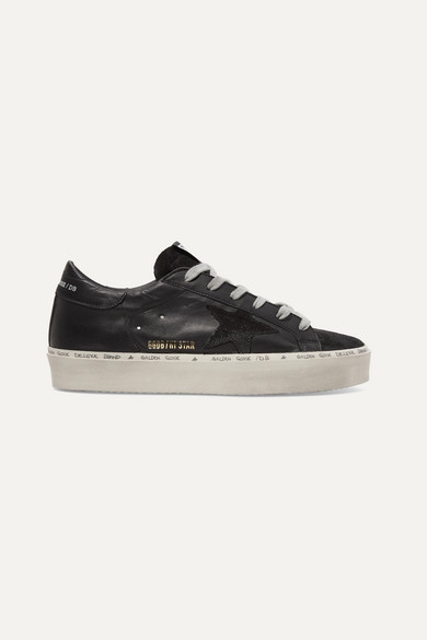 Hi Star Suede Trimmed Distressed Leather Sneakers by Golden Goose