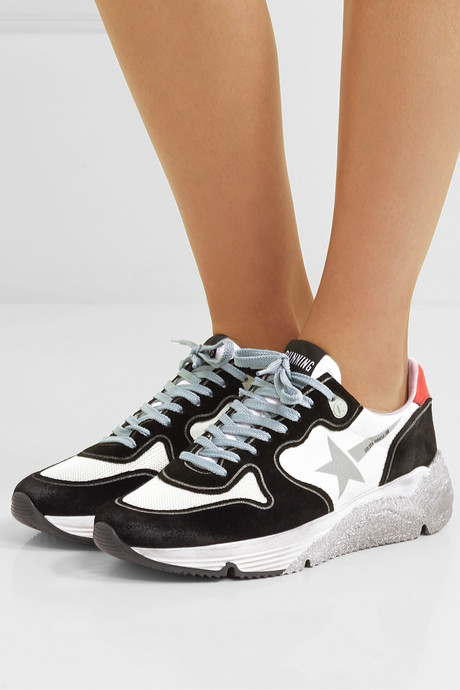 Running Sole distressed glittered leather, suede and mesh sneakers