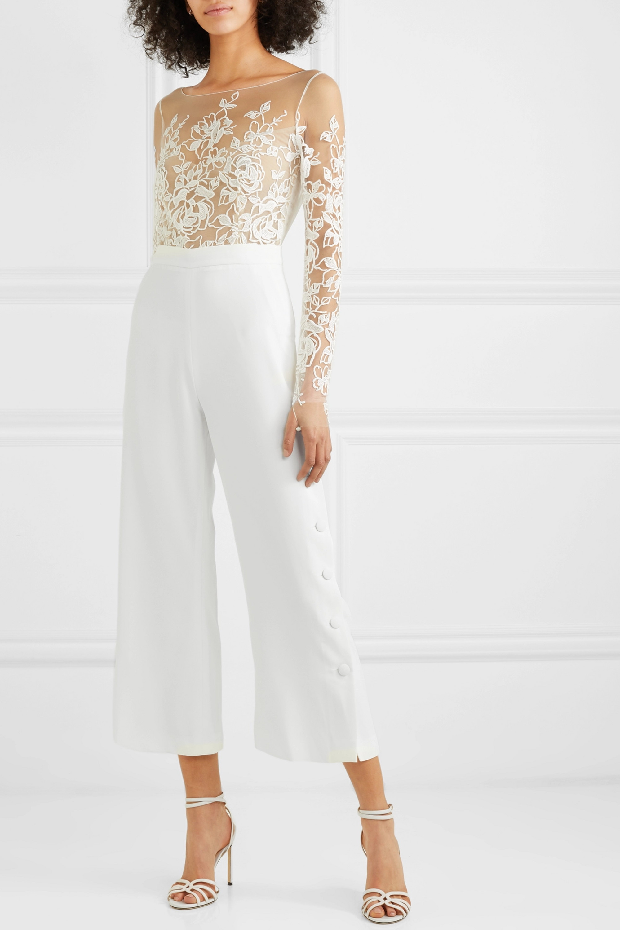 Rime Arodaky Braham cropped embroidered tulle and crepe jumpsuit