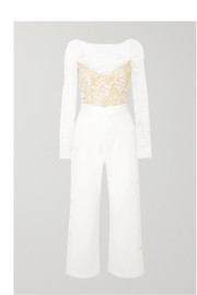 Braham cropped embroidered tulle and crepe jumpsuit