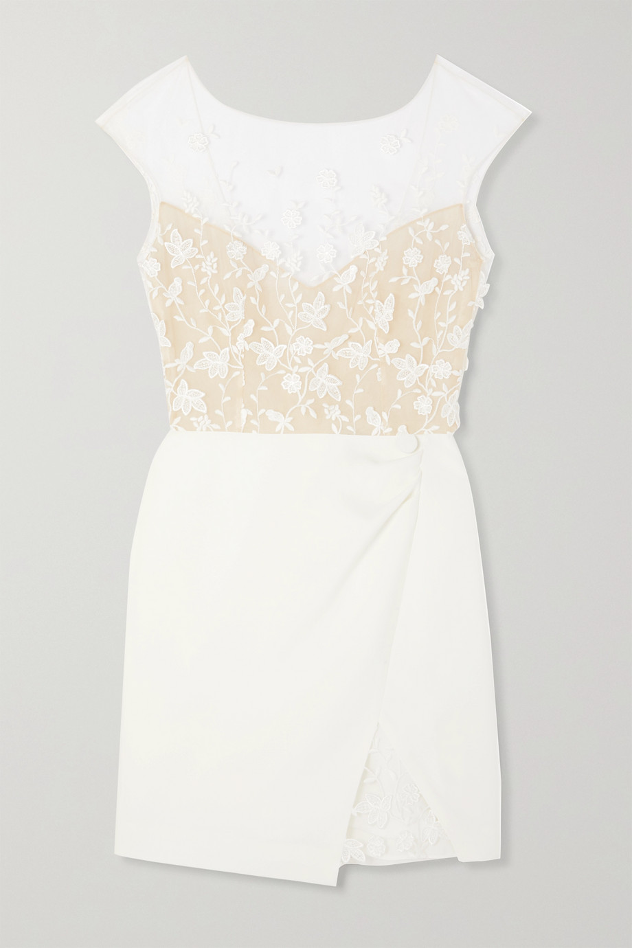 Rime Arodaky Eleonora embroidered tulle and crepe mini dress