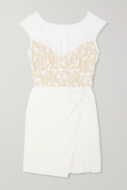 Eleonora embroidered tulle and crepe mini dress