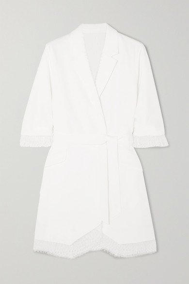 Jax belted lace-trimmed crepe mini dress