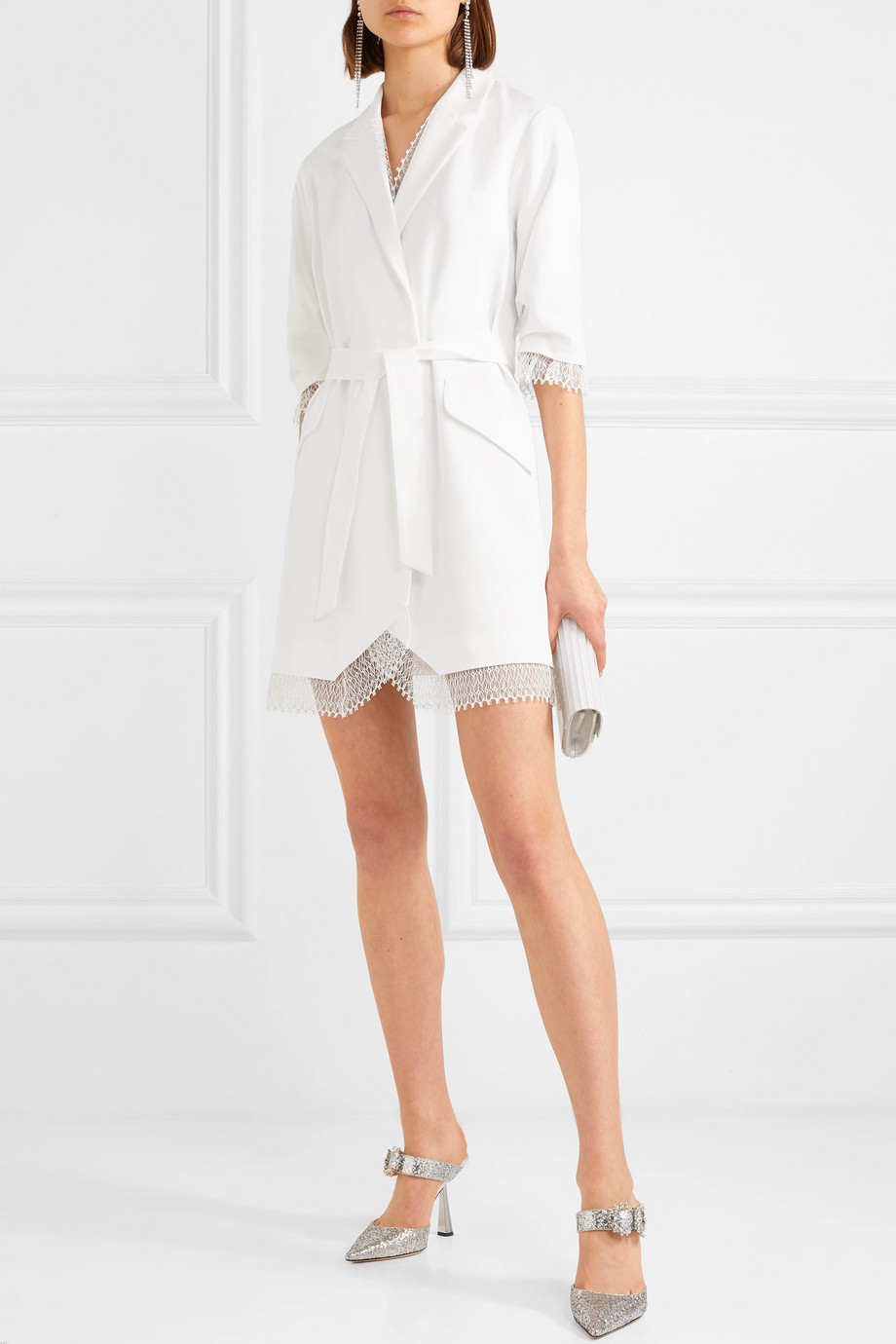 Rime Arodaky Jax belted lace-trimmed crepe mini dress