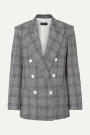 Deagan double-breasted checked cotton-blend blazer