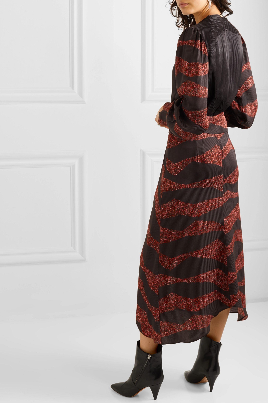Isabel Marant Romina asymmetric printed satin-jacquard midi dress