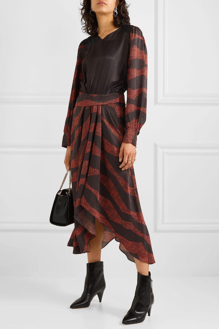 Isabel Marant Romina 不对称印花提花缎布中长连衣裙