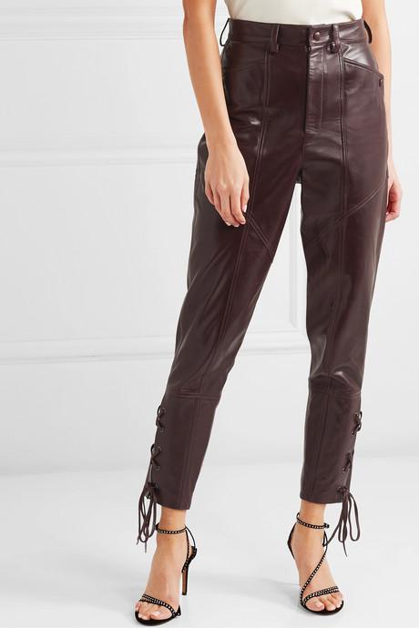 Cadix leather straight-leg pants