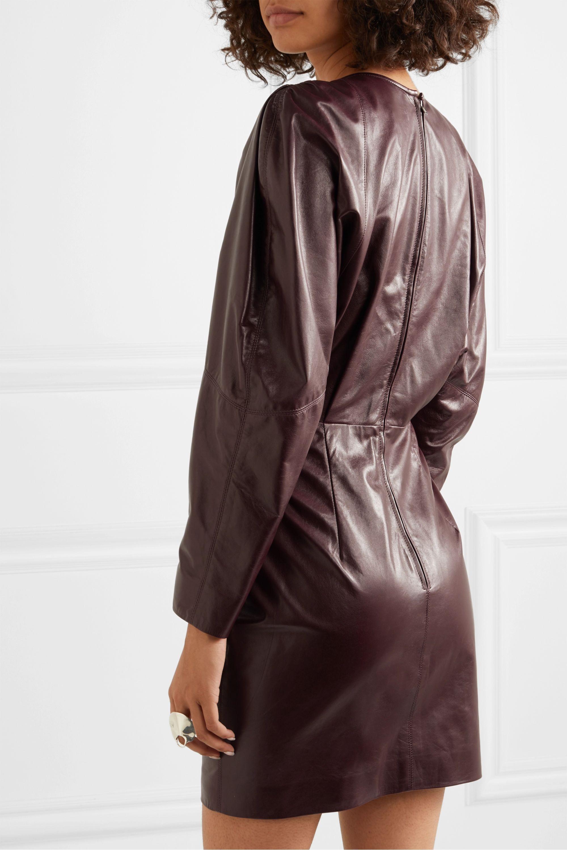 Isabel Marant Mini-robe en cuir à fronces Celini