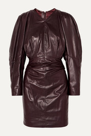 Celini ruched leather mini dress
