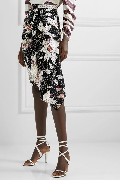 Roly draped printed silk-blend skirt