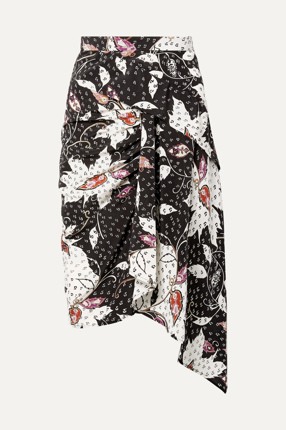 Isabel Marant Roly draped printed silk-blend skirt