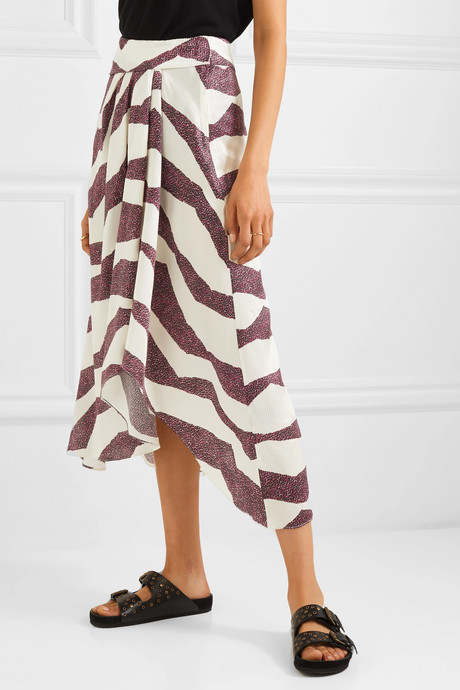 Rebeca asymmetric printed satin midi skirt