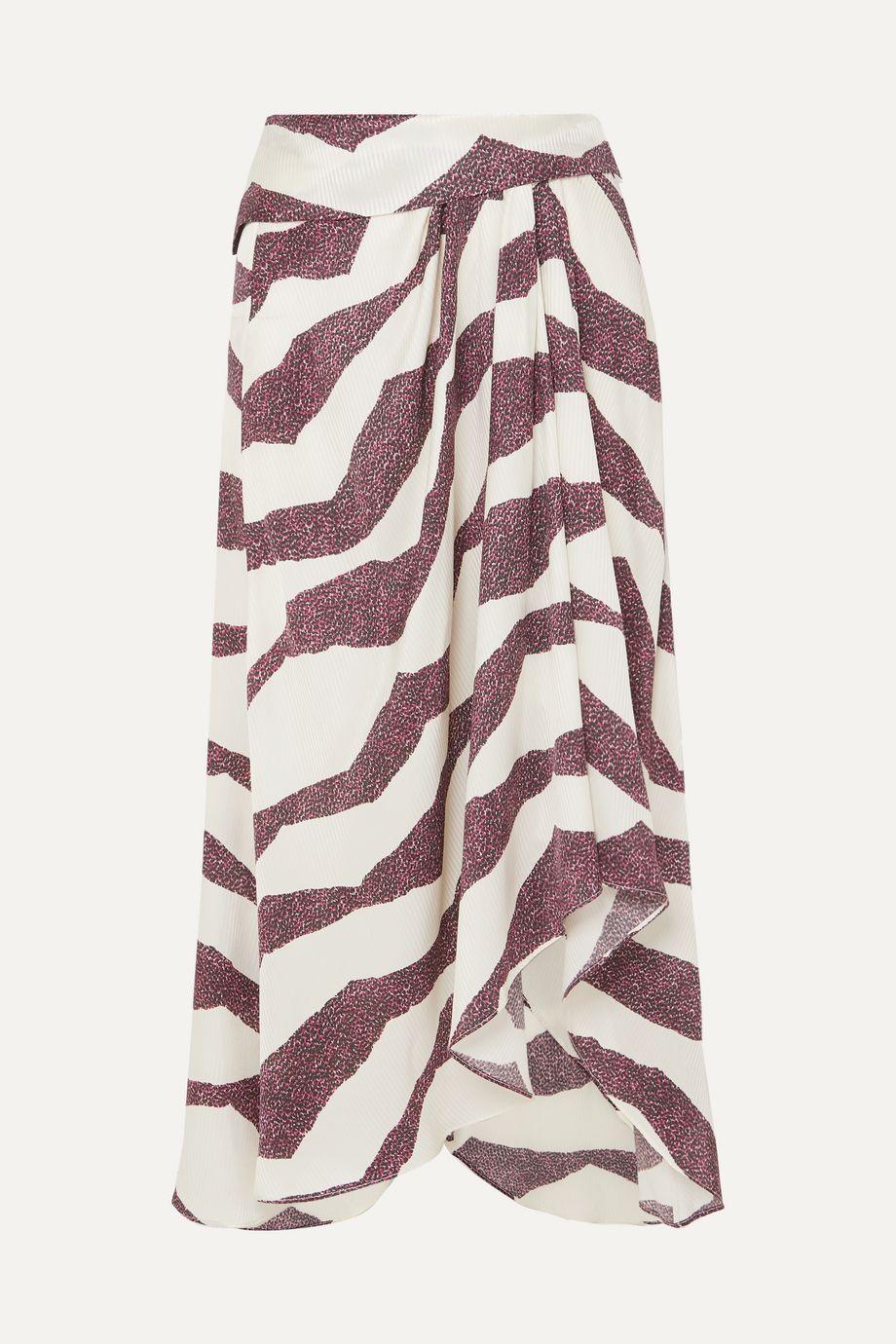 Isabel Marant Rebeca asymmetric printed satin midi skirt