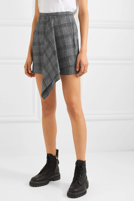 Doleyli draped checked cotton-blend mini skirt