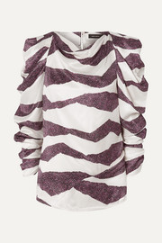 Isabel Marant Crem draped printed satin blouse