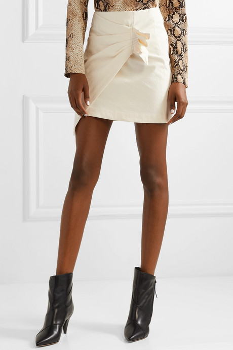 Lyuba ruffled wrap-effect cotton-blend mini skirt