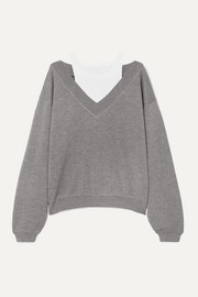 alexanderwang.t Cropped layered wool and stretch-cotton jersey sweater