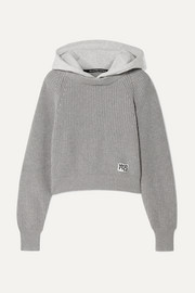 Hooded jersey and ribbed cotton-blend sweater