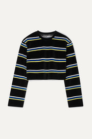 alexanderwang.t Cropped striped cotton-blend velour top
