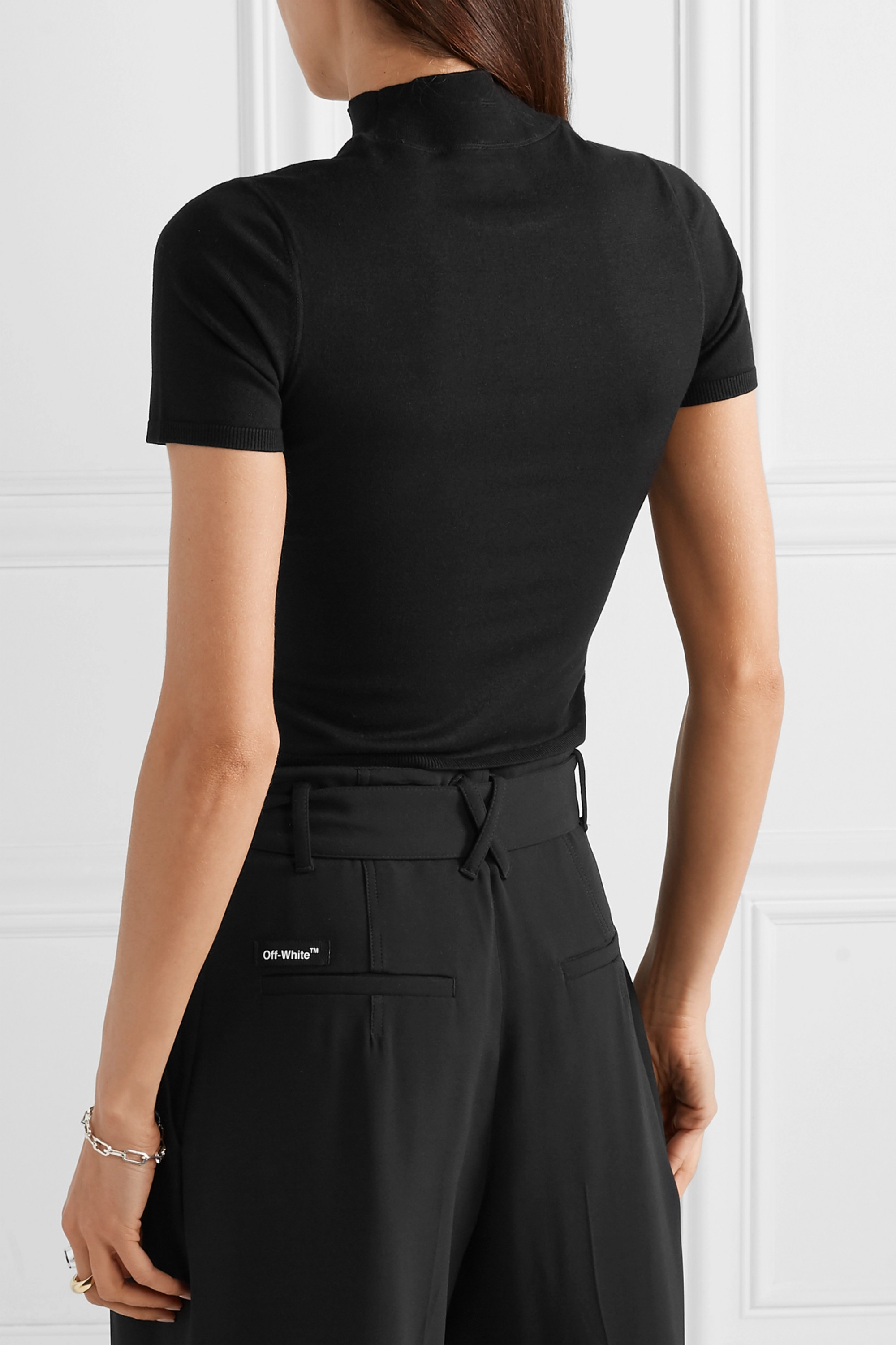 Black Appliquéd Cropped Stretch-jersey Turtleneck Top | Alexanderwang.t