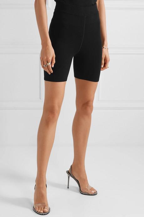 Appliquéd stretch-jersey shorts