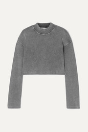 alexanderwang.t Cropped acid-wash ribbed stretch-cotton top