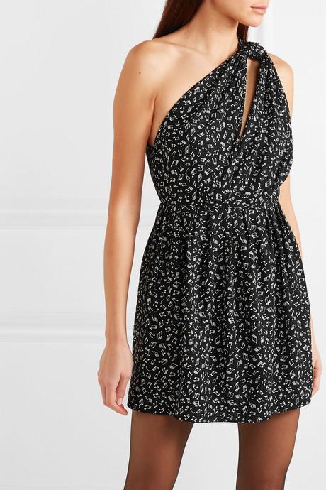 One-shoulder printed crepe mini dress