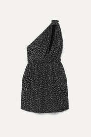 SAINT LAURENT One-shoulder printed crepe mini dress
