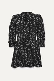 SAINT LAURENT Metallic printed silk-blend chiffon mini dress