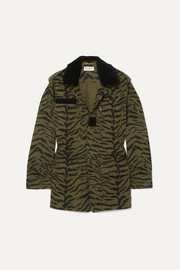 Shearling-trimmed zebra-print cotton-blend twill jacket