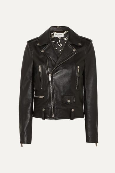 SAINT LAURENT | SAINT LAURENT - Leather Biker Jacket - Black | Goxip