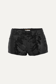 SAINT LAURENT Sequined wool shorts