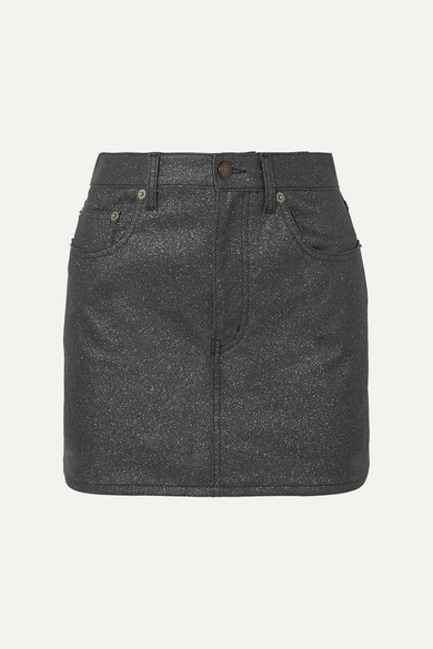 Saint Laurent Skirts Glittered-denim mini skirt