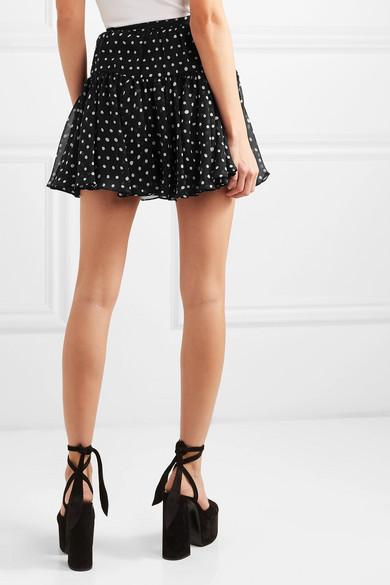 Saint Laurent Skirts Polka-dot silk-georgette mini skirt