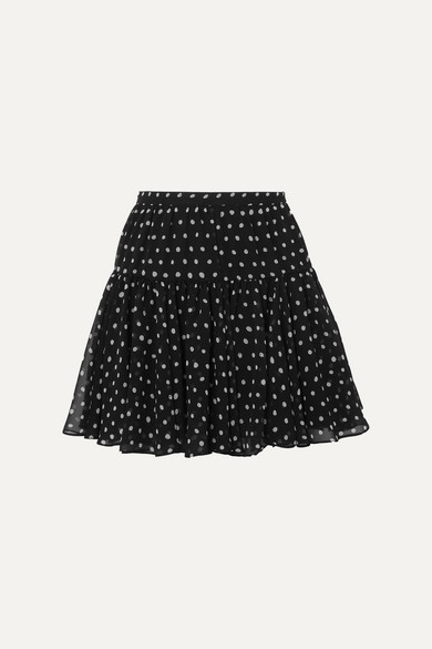 SAINT LAURENT   SAINT LAURENT - Polka-Dot Silk-Georgette Mini Skirt - Black   Goxip