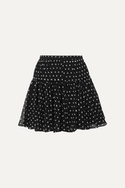 SAINT LAURENT Polka-dot silk-georgette mini skirt