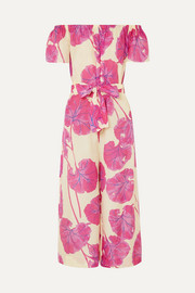 Diane von Furstenberg Helena belted printed cotton and silk-blend jumpsuit