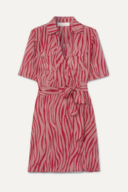 Diane von Furstenberg Alexa tiger-print cotton and silk-blend voile wrap mini dress
